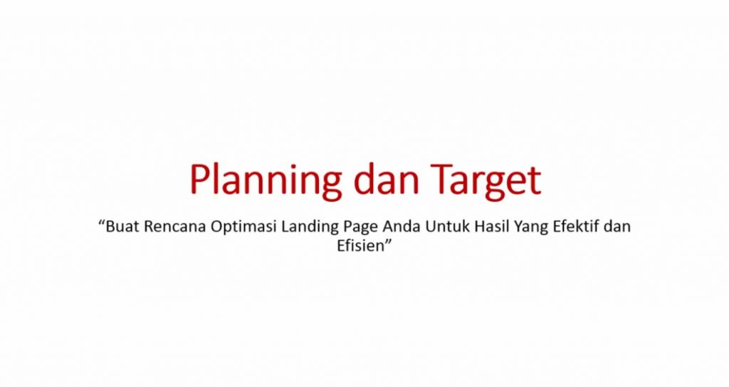 Video 9 Planning Target